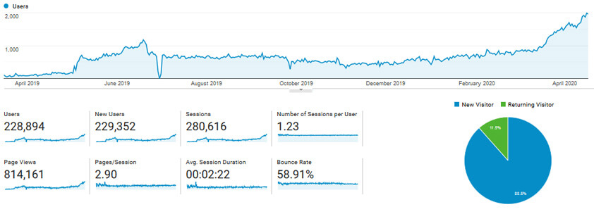 first year of my website traffic